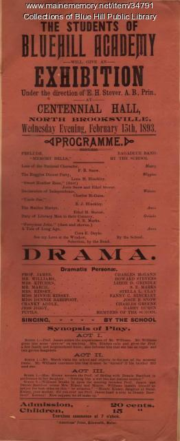 Advertisement for Blue Hill Academy school play, 1893