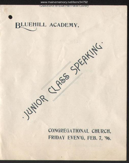 Blue Hill Academy program, 1896