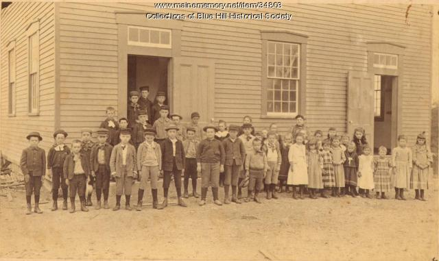 Class of children in front of the Village School, Blue Hill, 1892