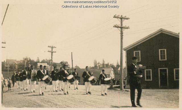 Flatiron Corner parade, Lubec, ca. 1915