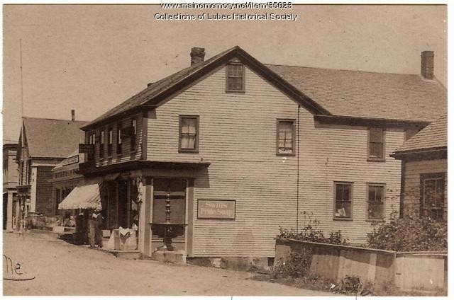 Upper Water Street with Mowry building, Lubec, ca. 1910