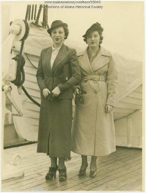 Sadye and Harriett Waterman on ship, 1936