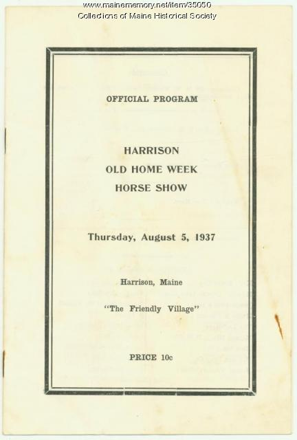 Harrison Old Home Week Horse Show program, 1937