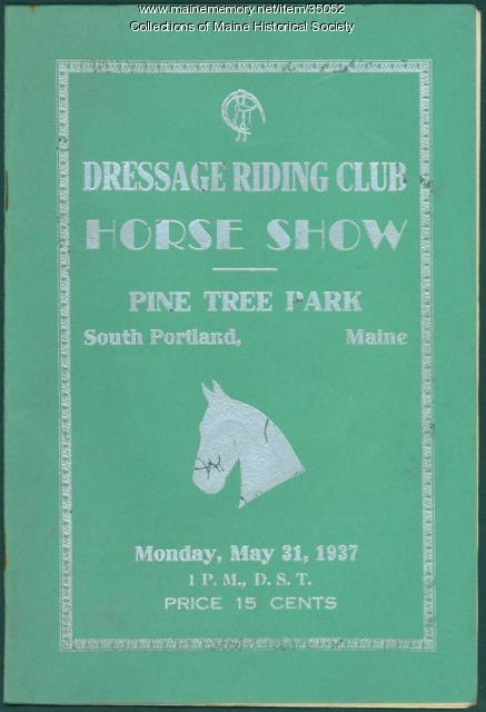 Dressage Riding Club show program, South Portland, 1937