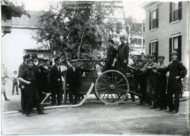 Handtub fire engine, Saco, ca. 1910