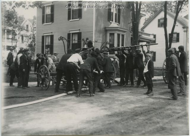 Volunteer firefighters, Saco, ca. 1910