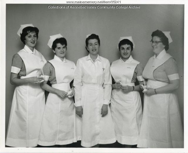 Maine School of Practical Nursing class officers, Waterville, 1963