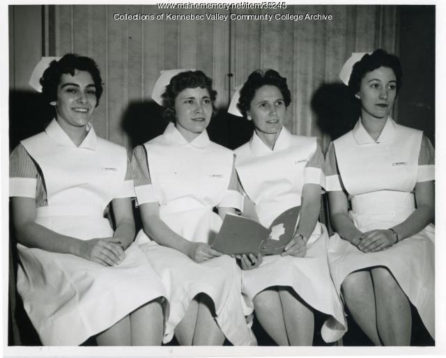 Maine School of Practical Nursing class officers, Waterville, 1962