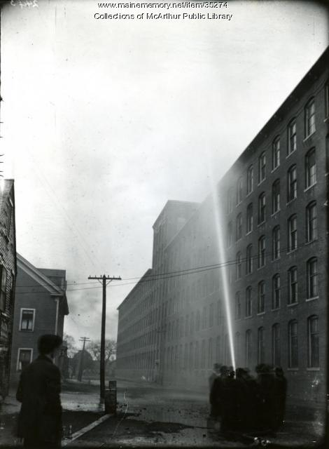 Biddeford Fire Department test by mill buildings, 1909