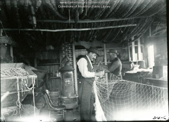 Fishermen repairing their nets, Biddeford Pool, 1917