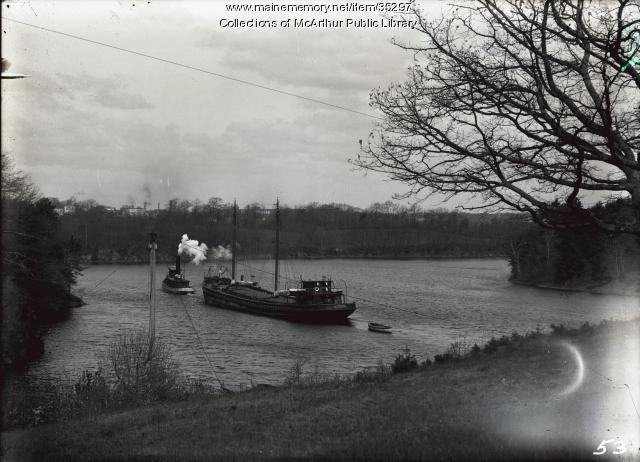 "Tug ""A.G. Prentiss"" and barge on the Saco River, ca. 1913"