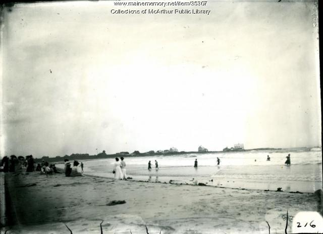People on the beach at Biddeford Pool, 1909