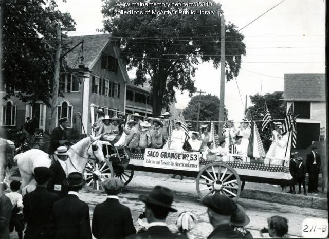 Saco Grange parade float, Biddeford, 1916