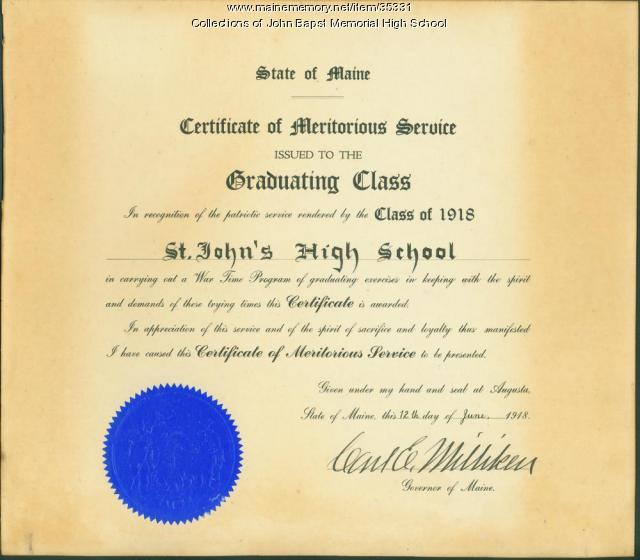 Certificate of Meritorious Service, St. John's High School, Bangor, 1918