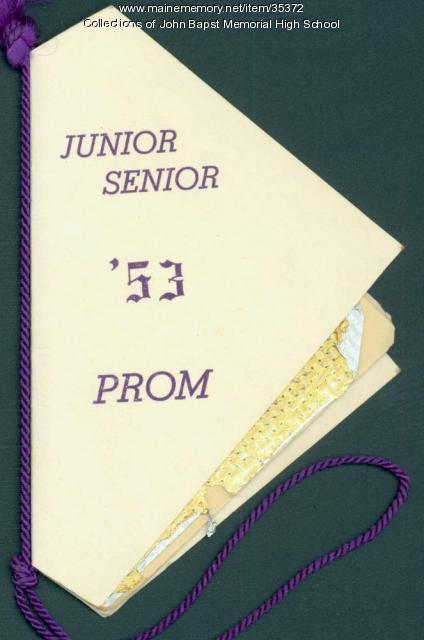 John Bapst Junior Senior Prom Dance Ticket, Bangor, 1953