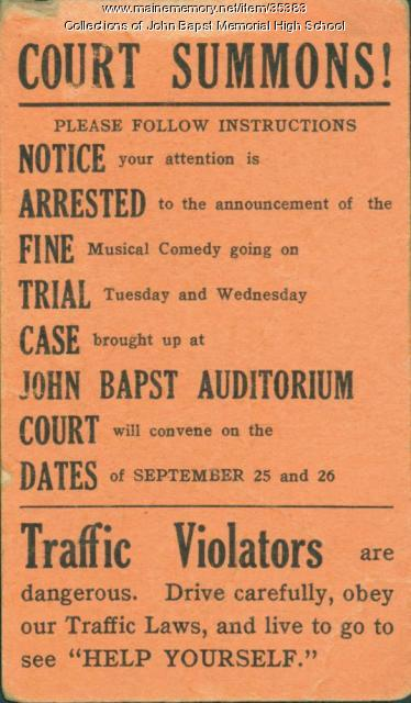 "Ticket to John Bapst ""Help Yourself"" Musical Comedy, Bangor, ca 1935"