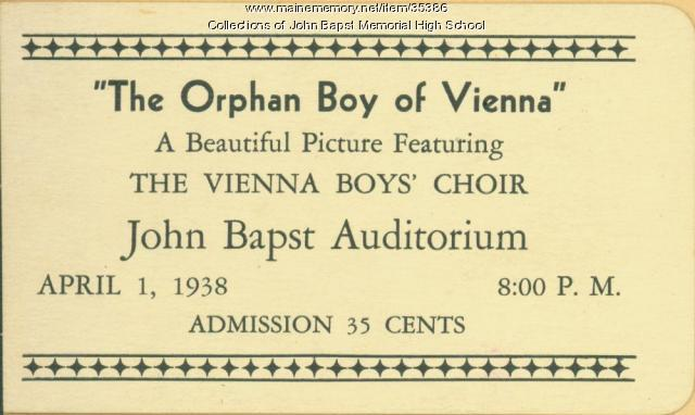 'Orphan Boy of Vienna' ticket, Bangor, 1938