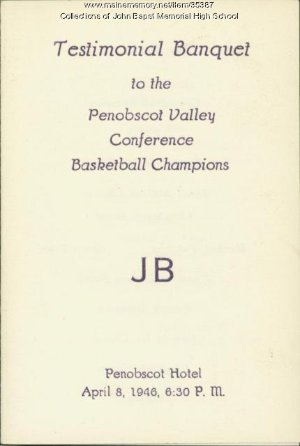 Testimonial Banquet Program, Bangor, 1946