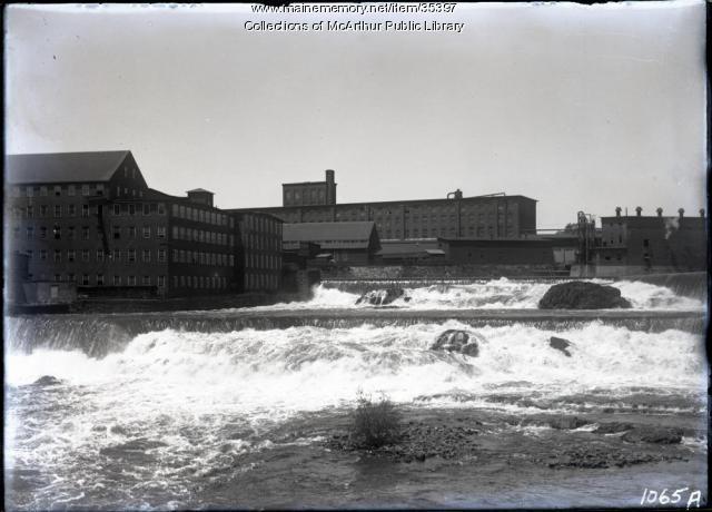 Saco Falls, mill dams and mills, Biddeford, 1912