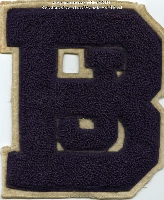 John Bapst High School athletic patch, Bangor, ca. 1970