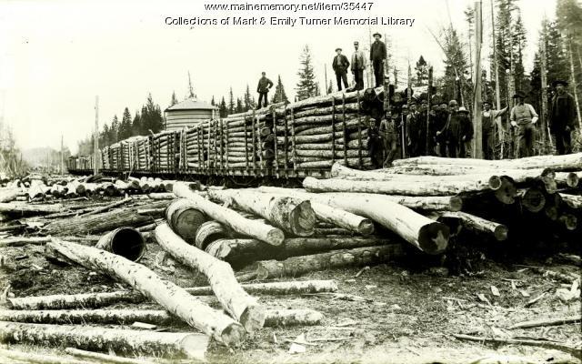 Loading telephone poles, Masardis, ca. 1895