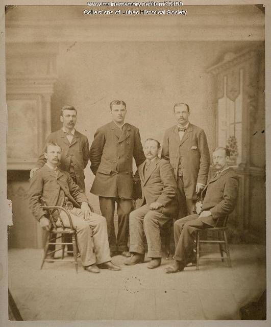 Jacob C. Pike, with area businessmen, Lubec, ca. 1885