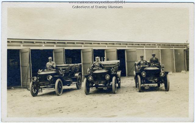 Three Stanley Mountain Wagons at Poland Spring, 1911