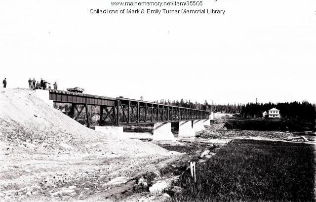 Bangor and Aroostook Railroad trestle, Sheridan, ca. 1902