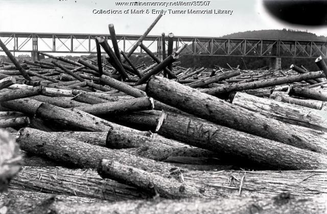 HW logs in Log jam at Sheridan Bridge, Sheridan, ca. 1902