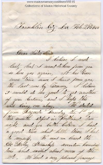 J.E. Mitchell to Persis Blanchard, Franklin City, LA, 1864