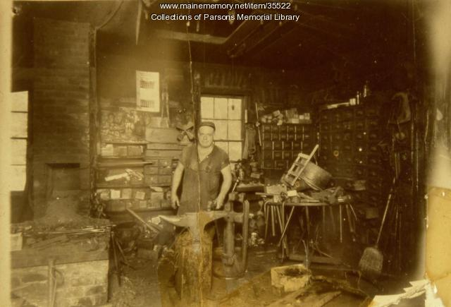 Will Clark's blacksmith shop, Alfred, ca. 1910