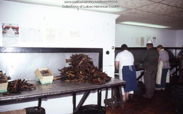 Packing herring at McCurdy's, Lubec, 1989