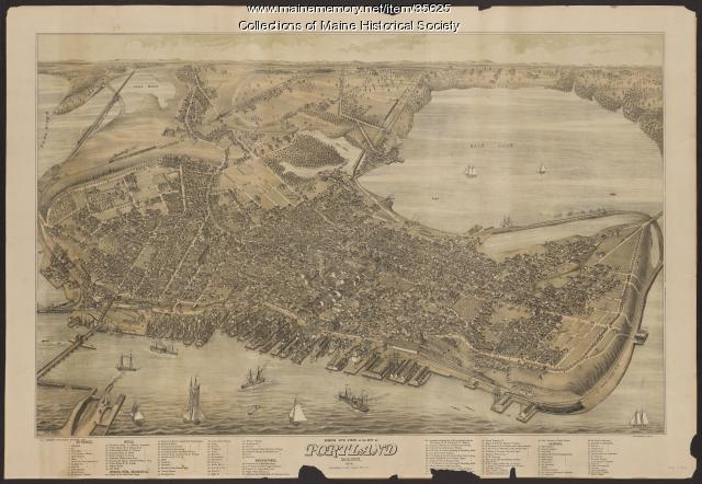 Bird's eye view of the city of Portland, 1876