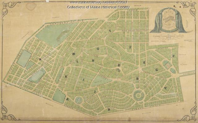Map of Evergreen Cemetery, Portland, 1868
