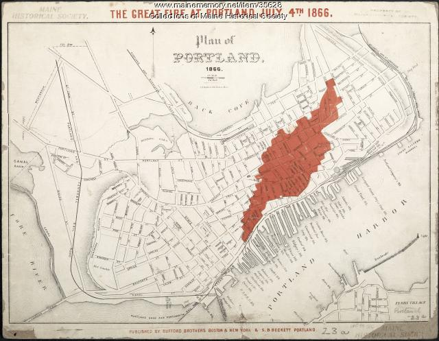 Map of 1866 Portland Fire