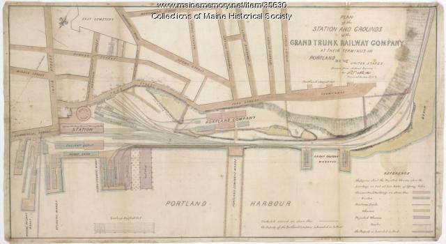 Plan of the Grand Trunk Railway grounds, Portland, 1858