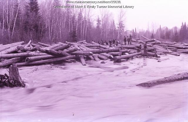 Log jam, Aroostook County, ca. 1900