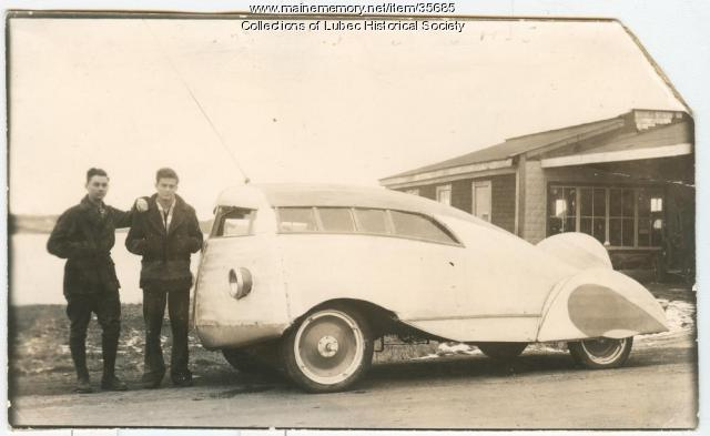 Homemade automobile, Lubec, 1935