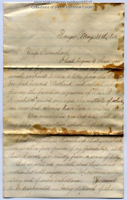 W.H. Hobbs letter on business college, Bangor, 1866