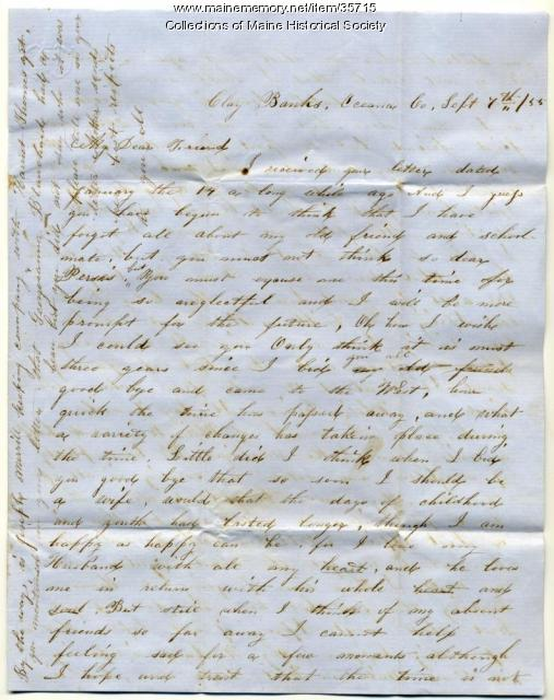 Letter to Persis Blanchard on youth, friends, Michigan, 1855