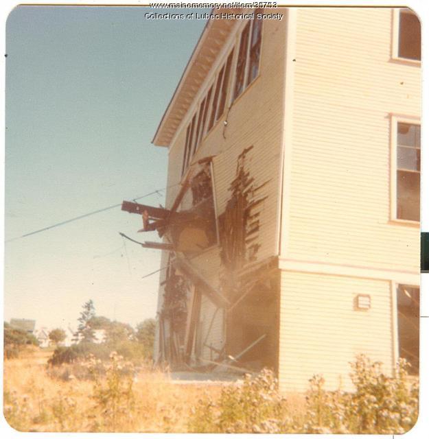 High school demolition, Lubec, 1978
