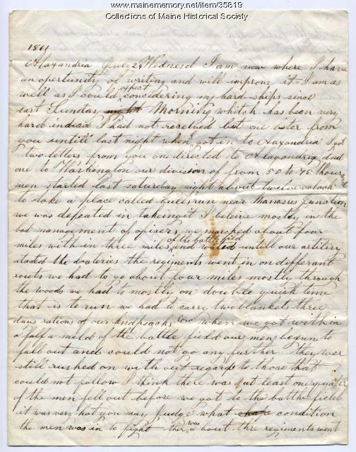 Marshall Phillips letter about Bull Run, 1861