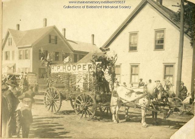 Hooper farm float, Biddeford, ca. 1920