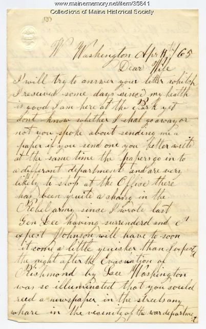 Marshall Phillips on Lee's surrender, 1865