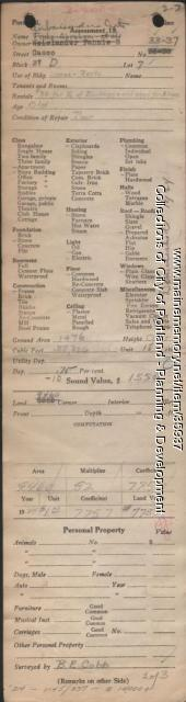 Assessor's Record, 33-37 Casco Street, Portland, 1924