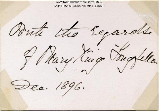 Mary King Longfellow note, Portland, 1896