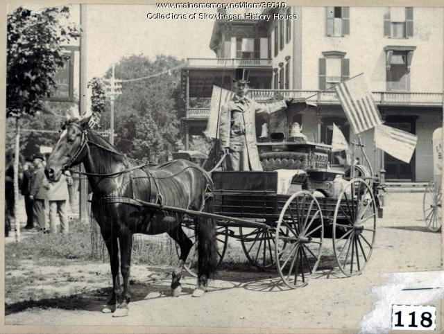 Parade float nearHeselton House, Skowhegan, 1892