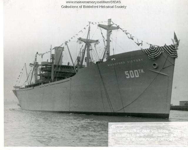 The Biddeford S.S.Victory ship, out of Maryland, ca. 1944