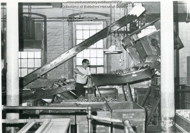 Textile bobbin stripping machine, Biddeford, ca. 1960