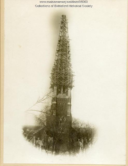Repair of St. Joseph church steeple, Biddeford, ca. 1917